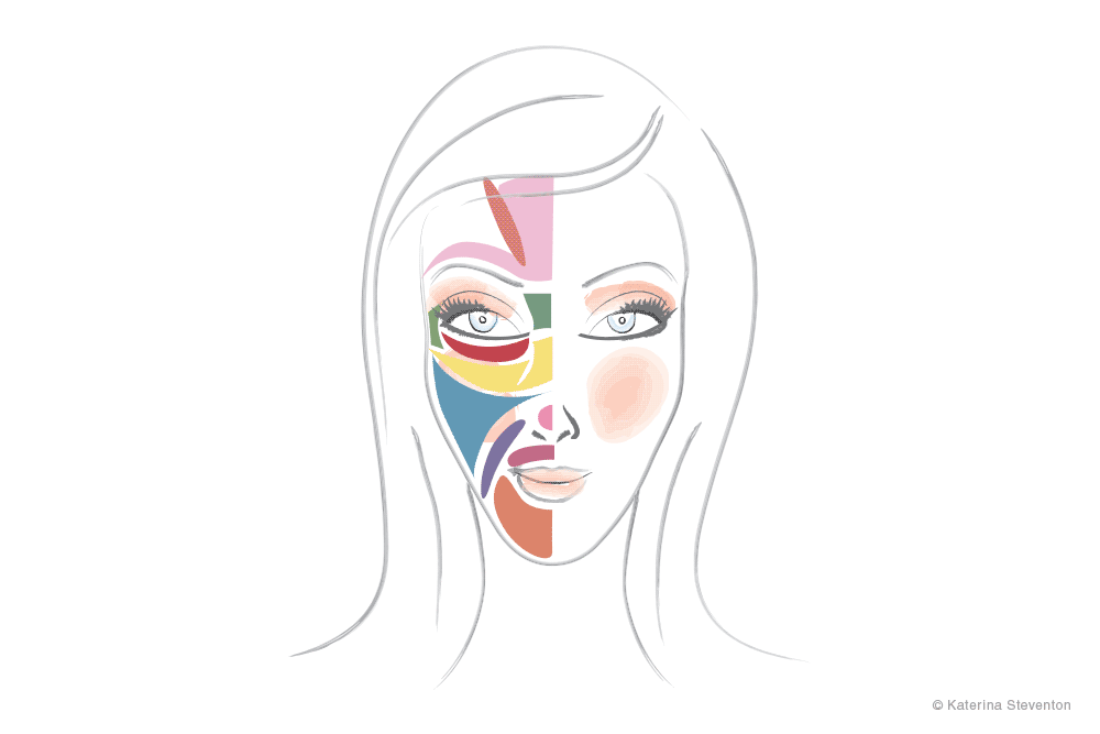 A drawing showing the various areas of facial skin relating to Personalised Skincare Consultation