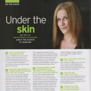 An image showing a published interview about skincare with Dr Katerina Steventon