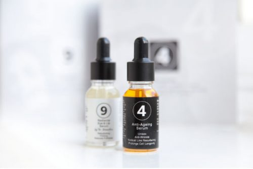 A photograph showing bottles of Dr Katerina Steventon's 4 and 9 serums, available for a limited time as a special offer £4.99 sample pack