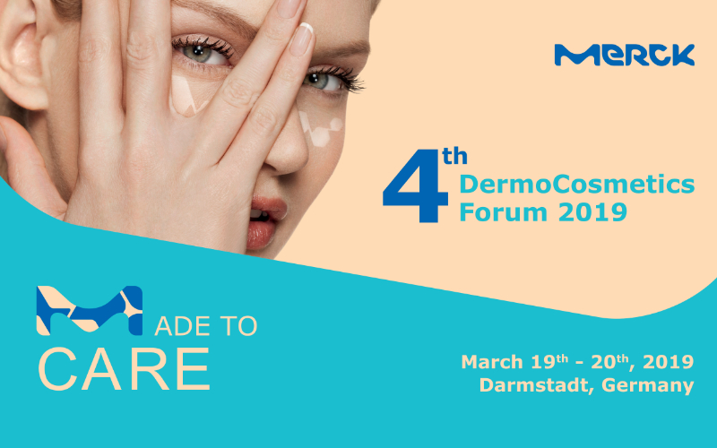 An image promoting the Merck DermoCostmetics forum 2019 where I will be speaking on The Science of Massage for Different Skin Types