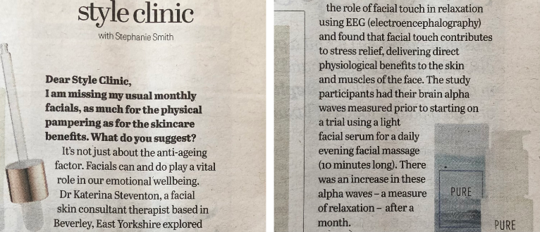 A photo of a style clinic article in the Yorkshire Post, featuring Dr Katerina Steventon